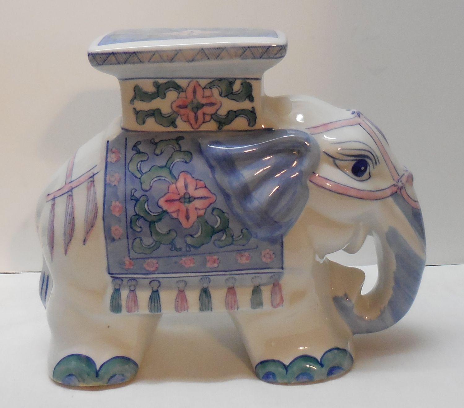 Brilliant Vintage Porcelain Elephant Plant Stand Mini Garden Stool Spiritservingveterans Wood Chair Design Ideas Spiritservingveteransorg