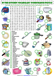 In The Kitchen Word Search Puzzle Esl Worksheet Esl
