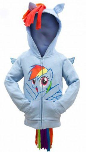 My Little Pony Rainbow Dash Face Kids Sky Blue Costume Hoodie Sweatshirt with Mane, Wings and Tail (Kids 4)
