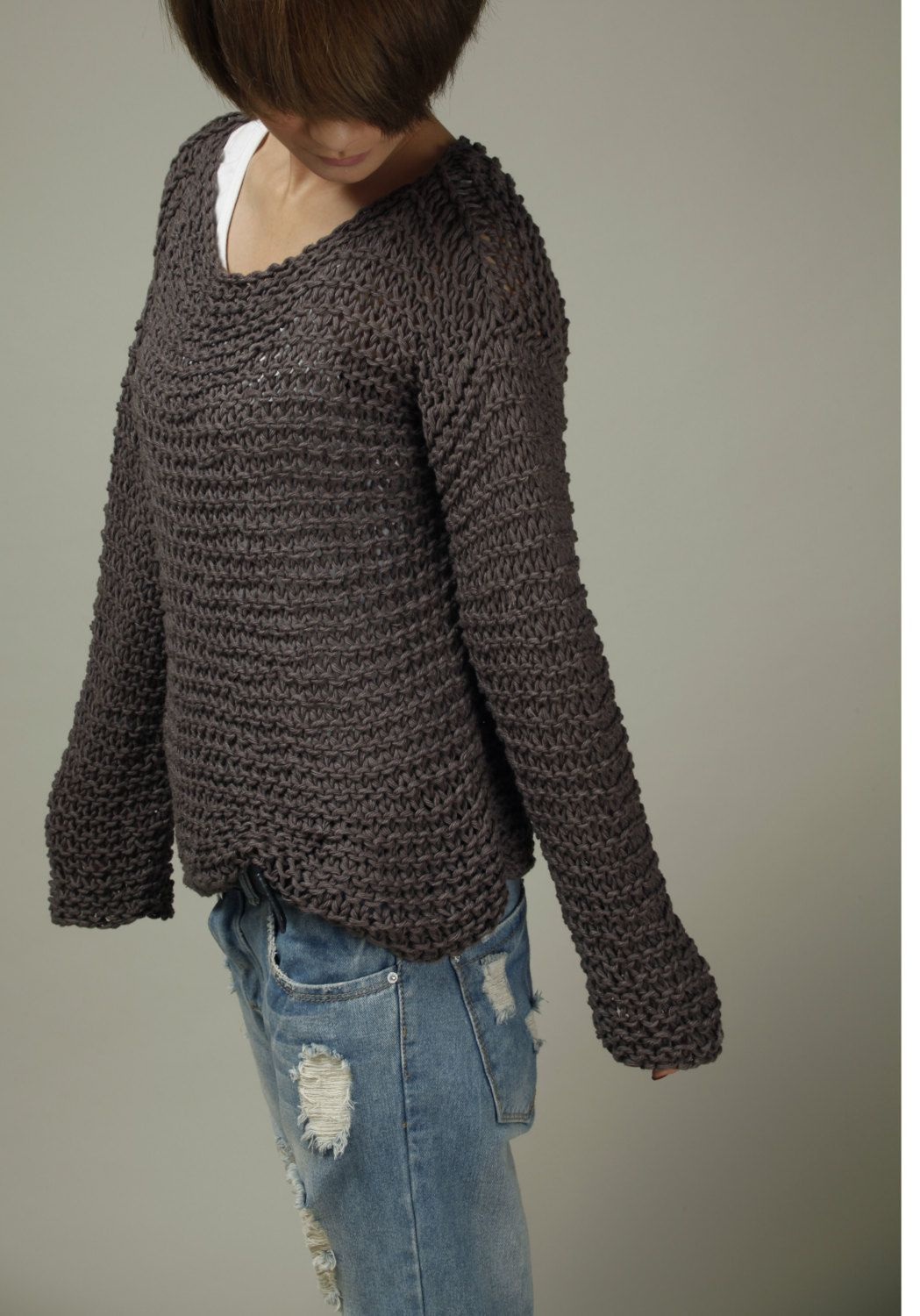 Handknit cotton sweater in Charcoal | Chunky Knits | Pinterest ...