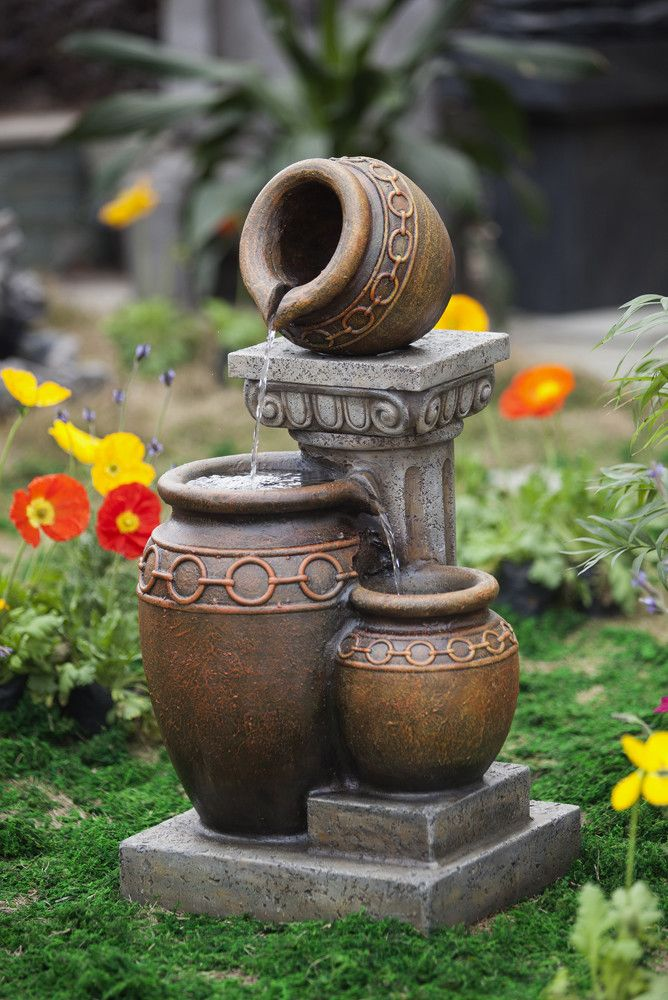 Resin Fiberglass Classic 3 Pot And Column Water Fountain Garden Water Fountains Water Fountains Outdoor Fountains Outdoor