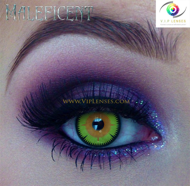Maleficent contacts with eye makeup | Halloween Contact Lenses ...