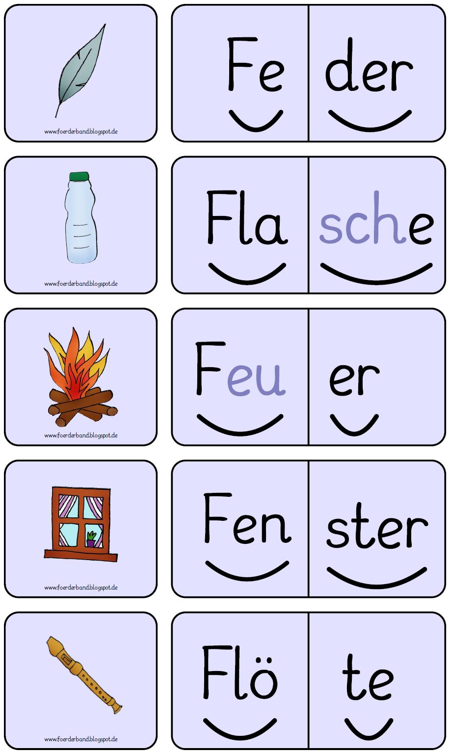 Domino, Buchstabe F, Silbenwörter, Lesen, Freiarbeit, Förderband ...