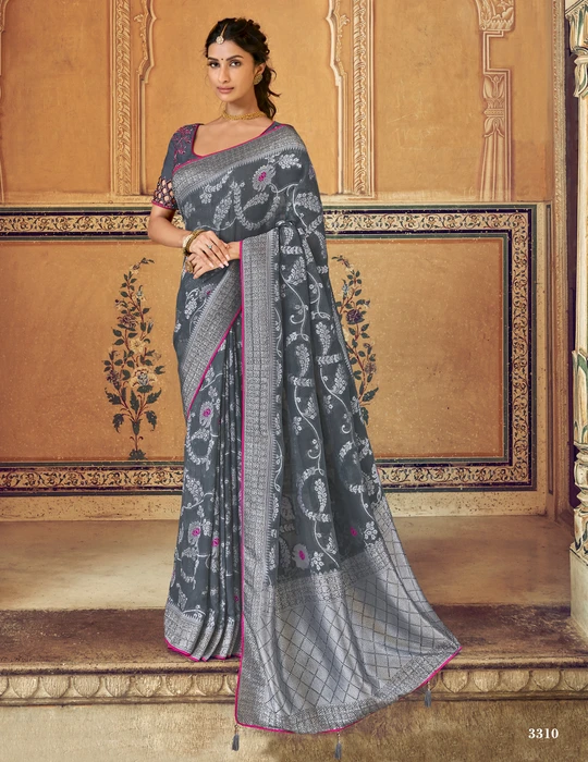 Grey heavy vichitra silk saree with Sequance lace border and blouse for women wedding saree saree for women saree dress saris Saree
