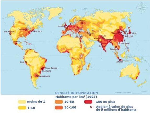 Carte Avec La Densite De La Population Dans Le Monde Carte