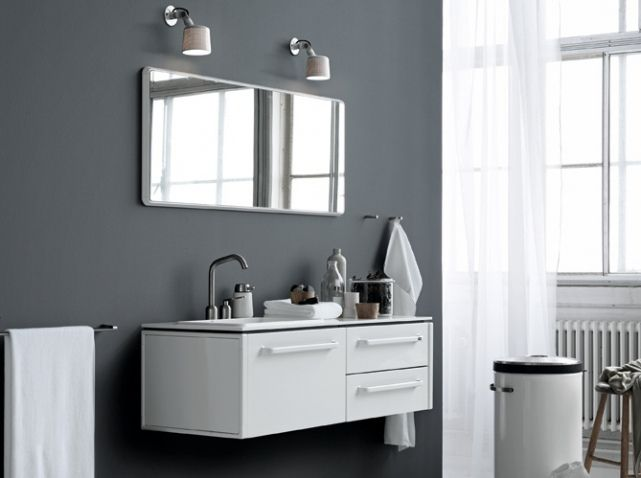 Salle de bains design blanche | Salle de bains | Bathroom | Pinterest