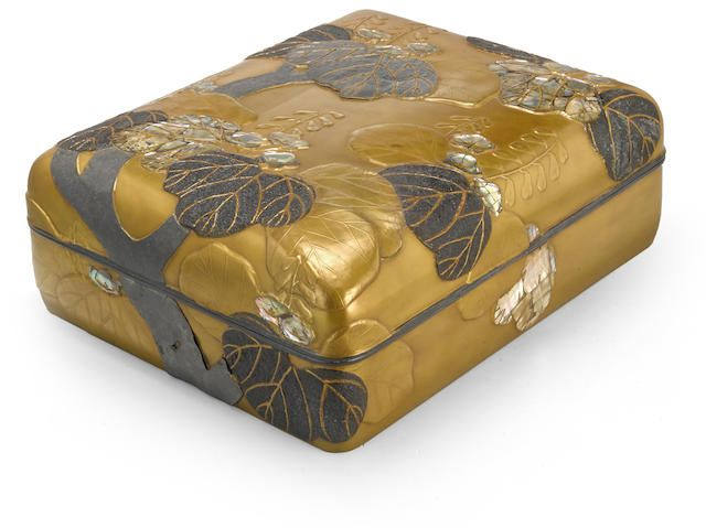A large Rinpa-style lacquer document box Edo period (1615-1868), 18th century