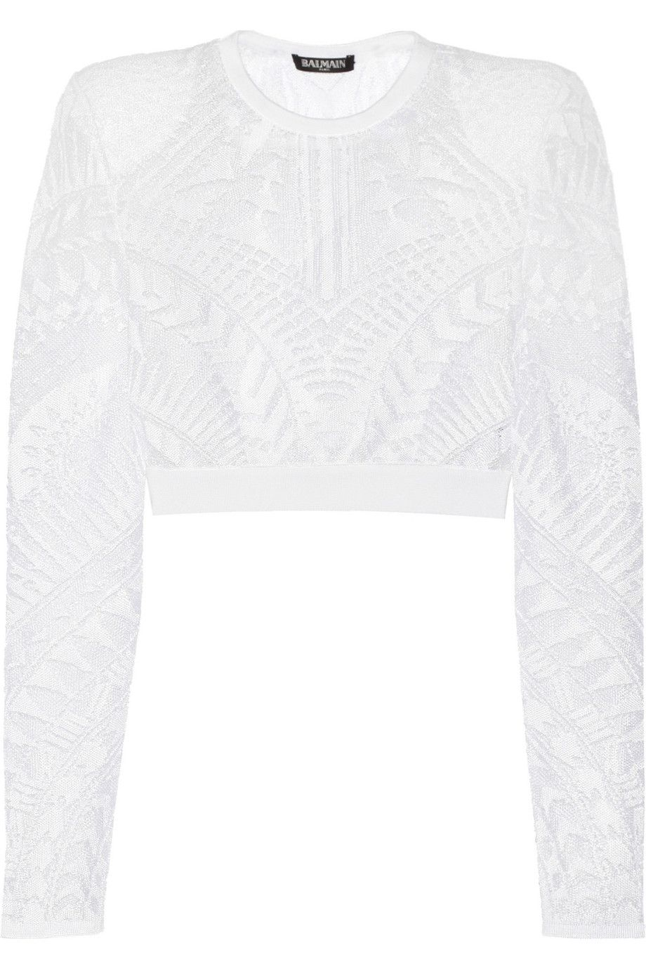 BALMAIN Cropped Stretch-Lace Top. #balmain #cloth #top