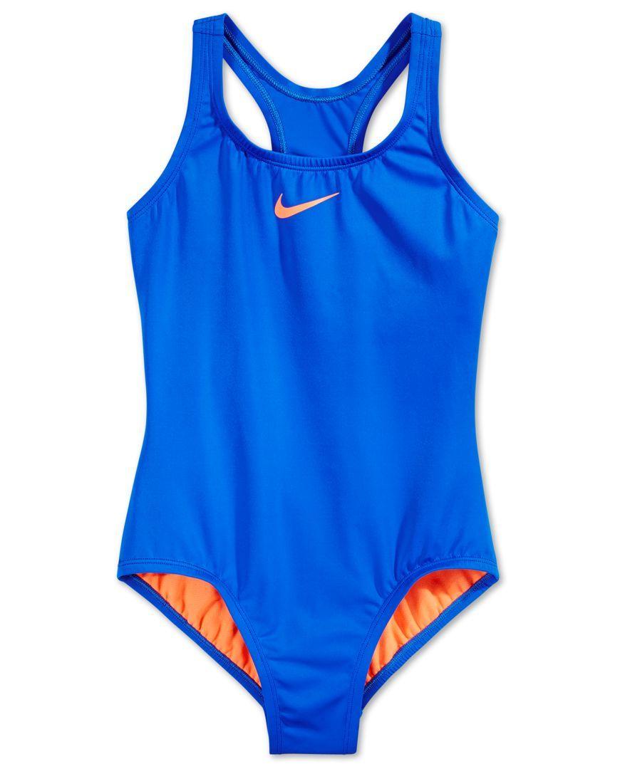 9dd6a87962ac9 Nike Girls  Racerback Solid One-Piece Swimsuit