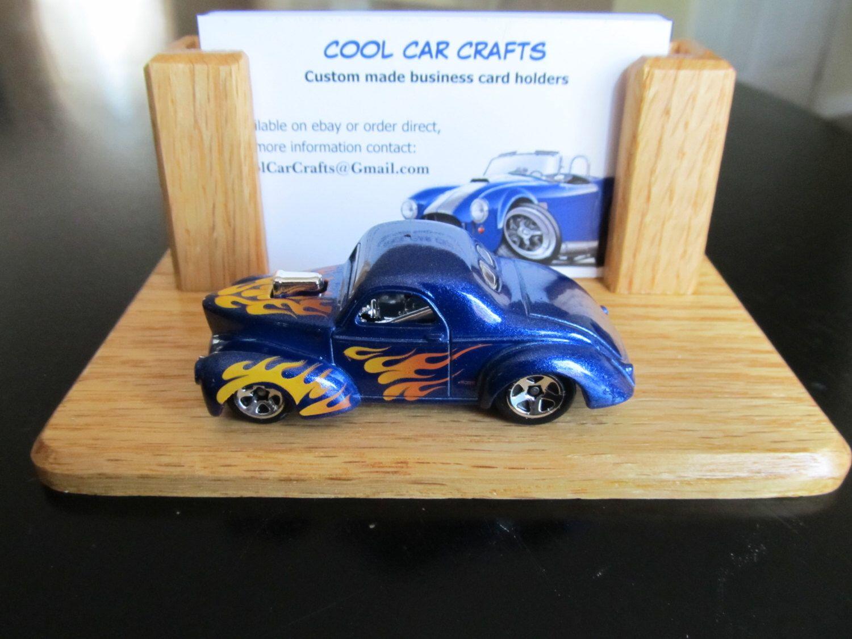 41 Willys Gasser Hot Rod - business card holder oak wood desk office ...