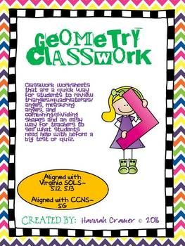 Geometry classwork venn diagrams geometry activities and worksheets ccuart Gallery