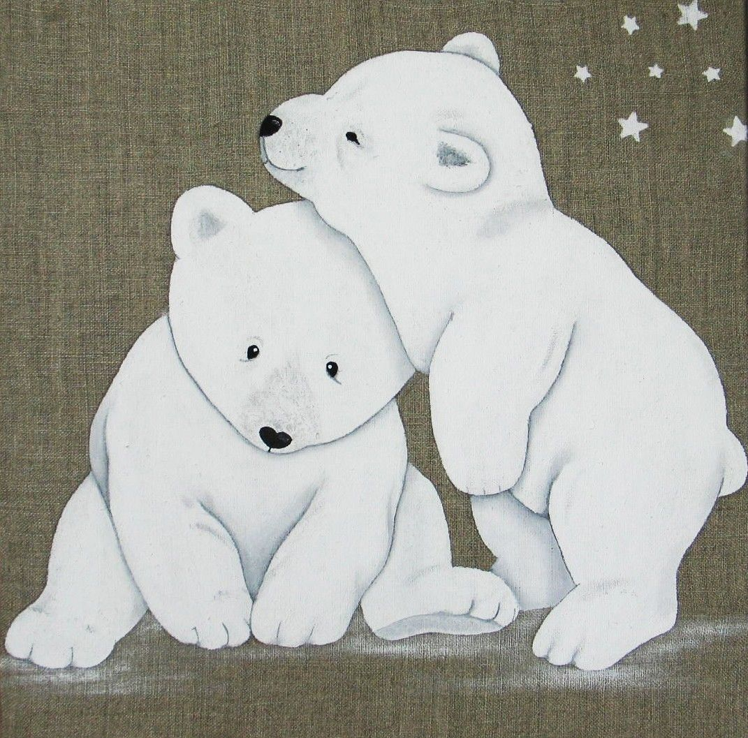 Tableau Duo Ours Polaires Art D Ours Peinture Bebe Ours