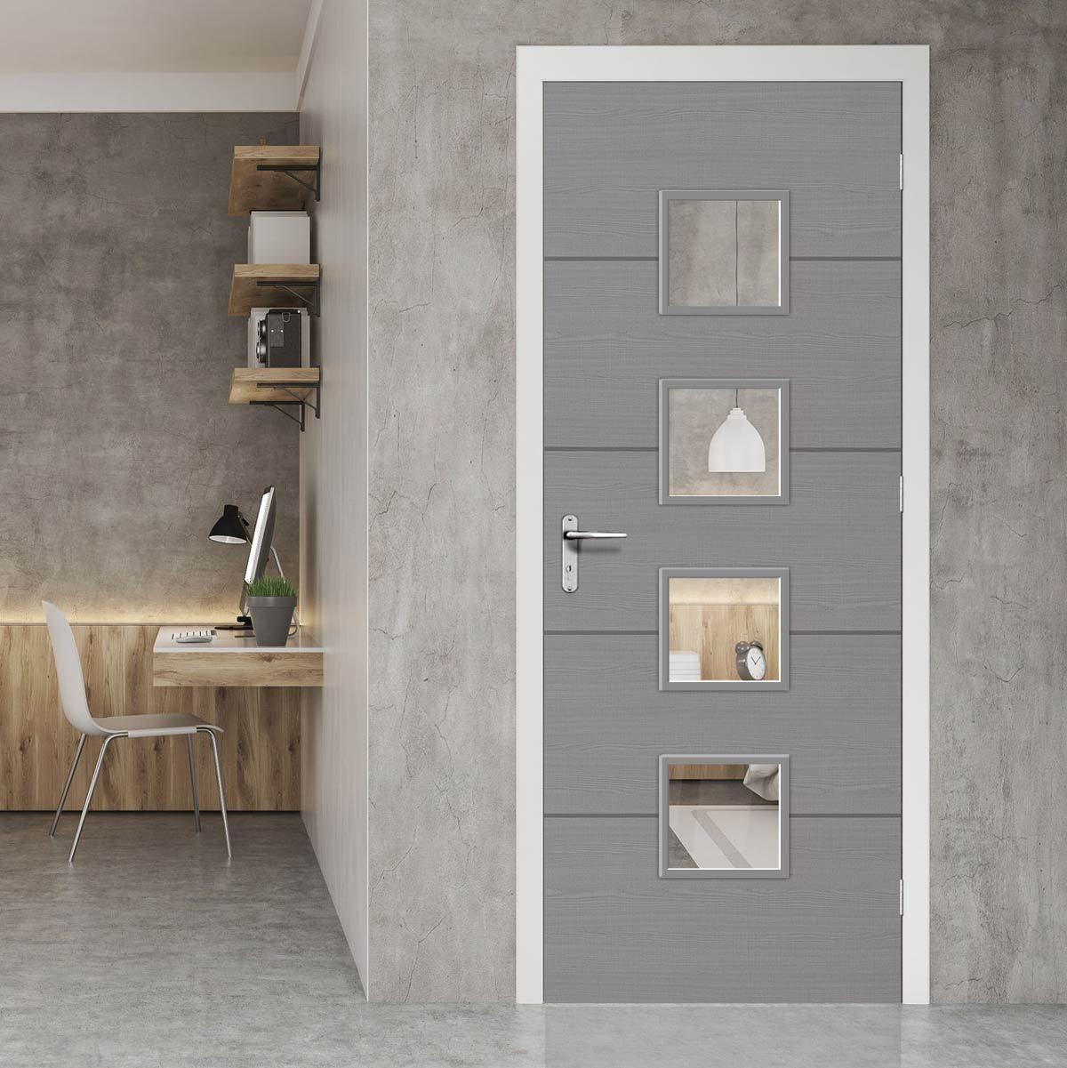 Bespoke Door Flush Horizontal Grey Inlay American Light Grey Ash Veneer Firedoor Greydoor Fire Doors Design Fire Doors Home Interior Design