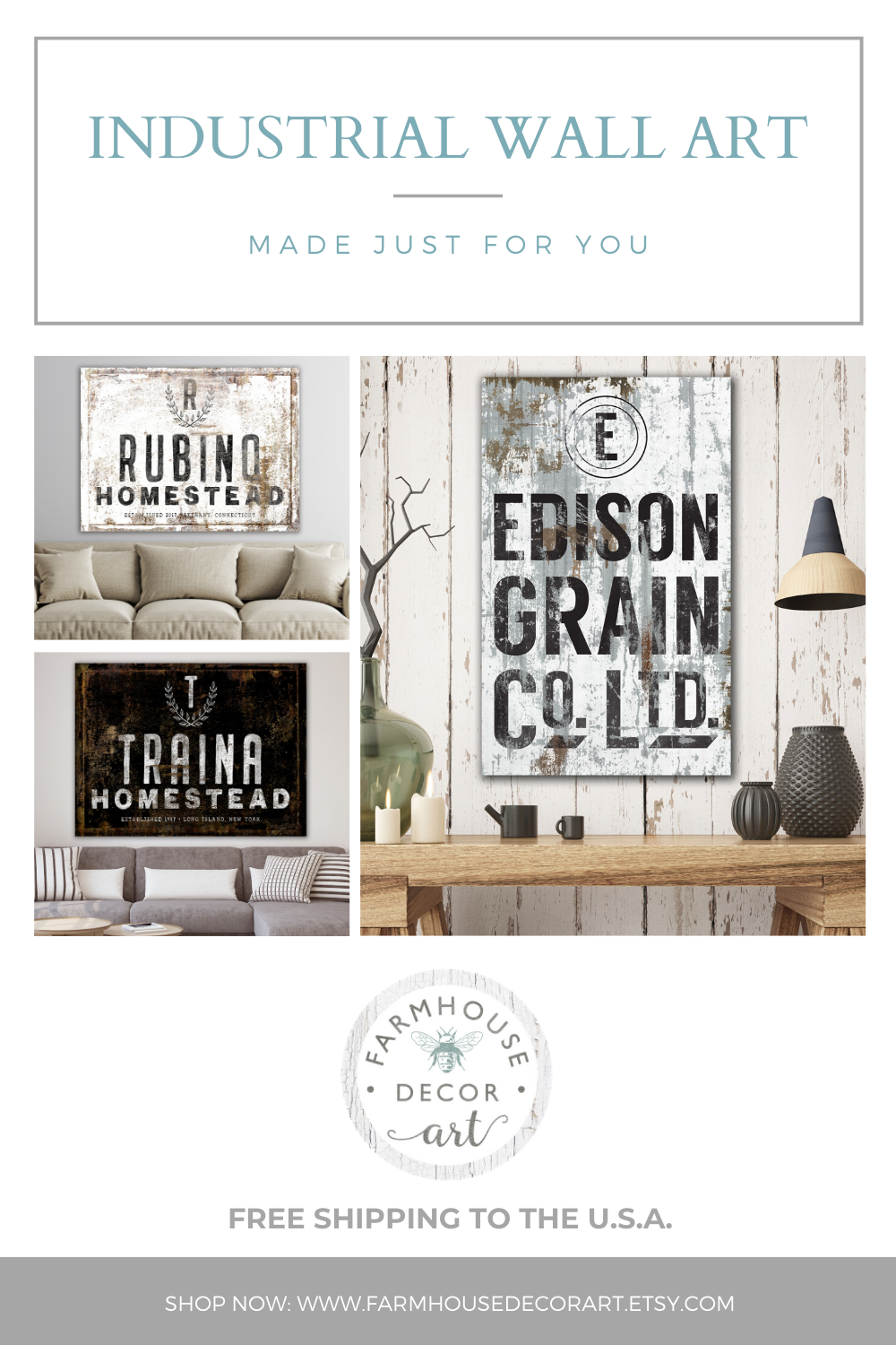 Personalized Industrial Wall Art Family Signs Canvas Art By Farmhouse Decor Art In 2020 Eclectic Living Room Decor Vintage Farmhouse Decor