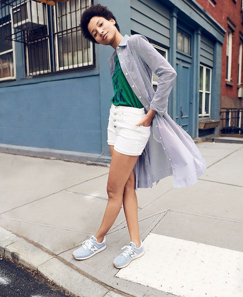 0ca130ef6 J. Crew Tie-Waist Shirtdress in Stripe, Walking the Walk T-Shirt, High-Rise  Denim Short in White with Button Fly and New Balance for J. Crew 520  Sneakers
