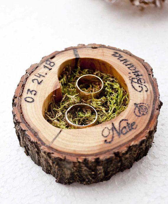 Wedding Ring Bearer Pillow/ Wedding Ring Holder/ Rustic Ring Bearer/ Wood Heart Ring/ Country...