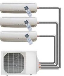 Three Unit Ductless Air Conditioner Heaters Once Condnser Unit