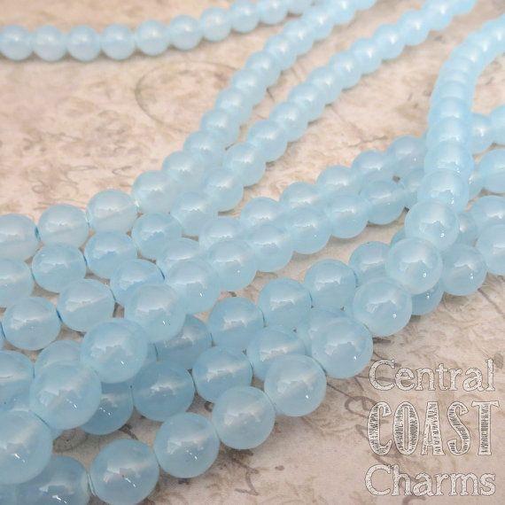 Milky Light Blue Opal - 8mm Czech Glass Druk Round Beads - 25pcs - Shabby Vintage Style - Central Coast Charms