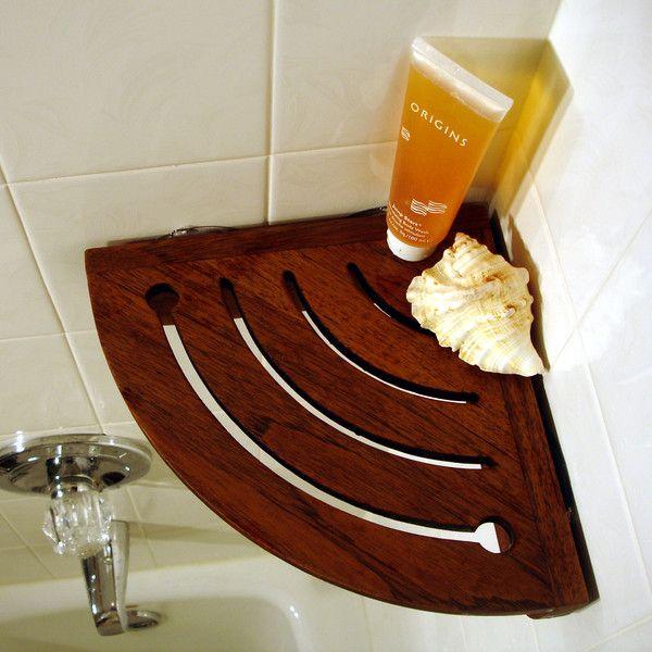 Teak Corner Shower Shelf More