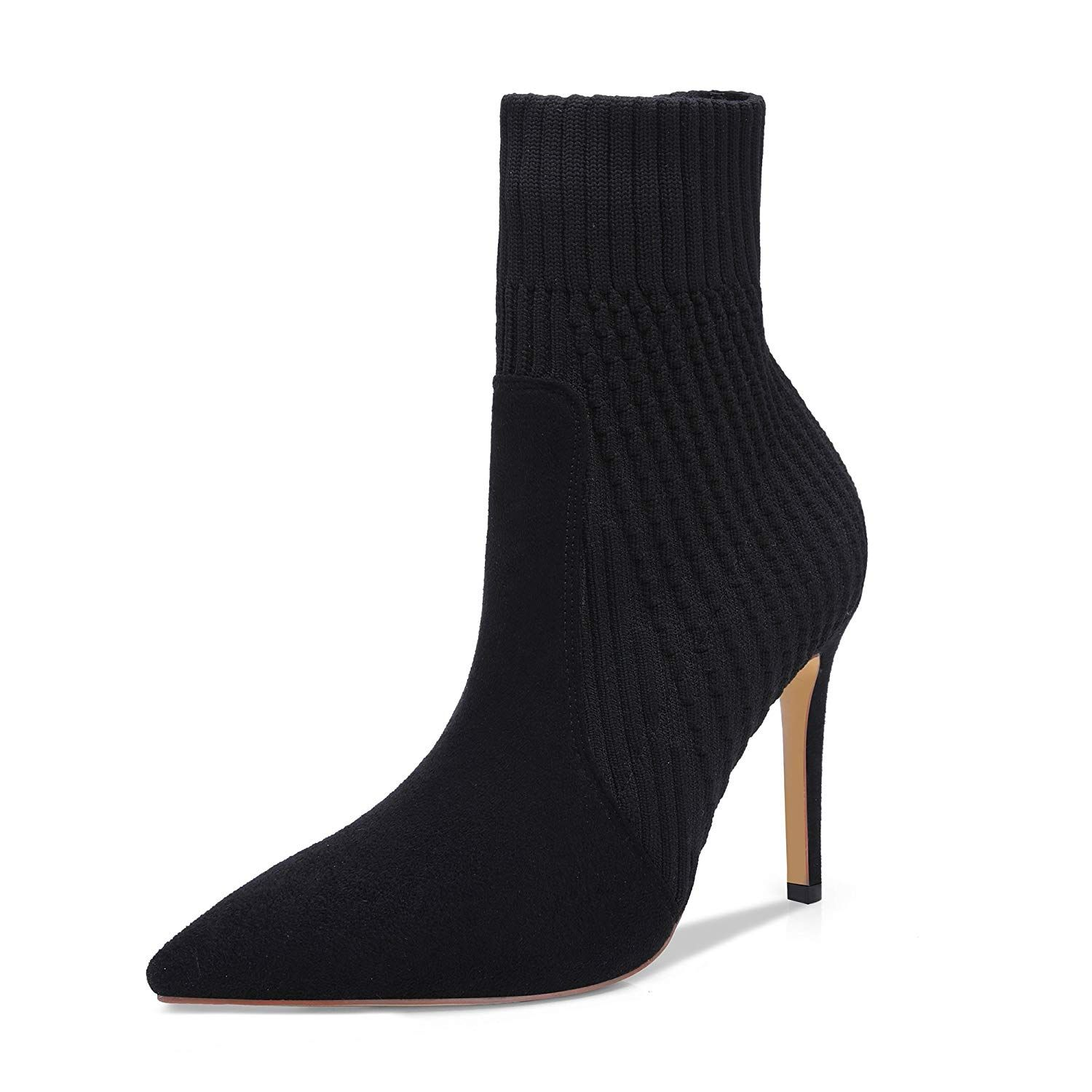 1f8ab78e4 onlymaker Women's Knitted Stretch Sock Booties Pointed Toe Pull On High Top Ankle  Boots * Thank you for having viewed our photo.