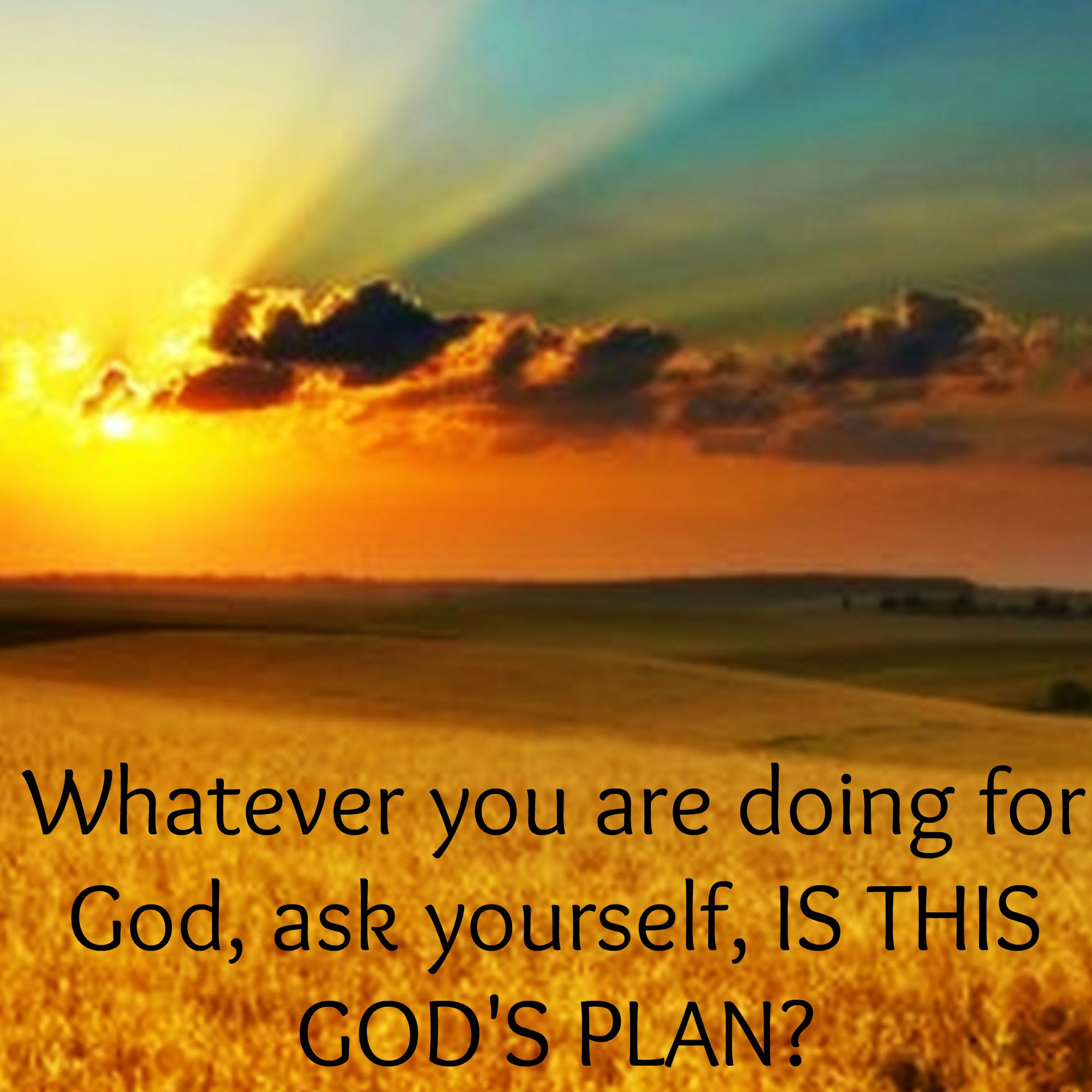 Whatever you are doing for God, ask yourself, IS THIS GOD'S PLAN?
