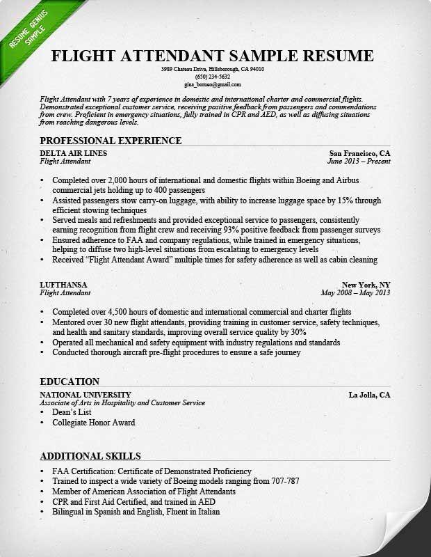 sample resume objectives for flight attendant