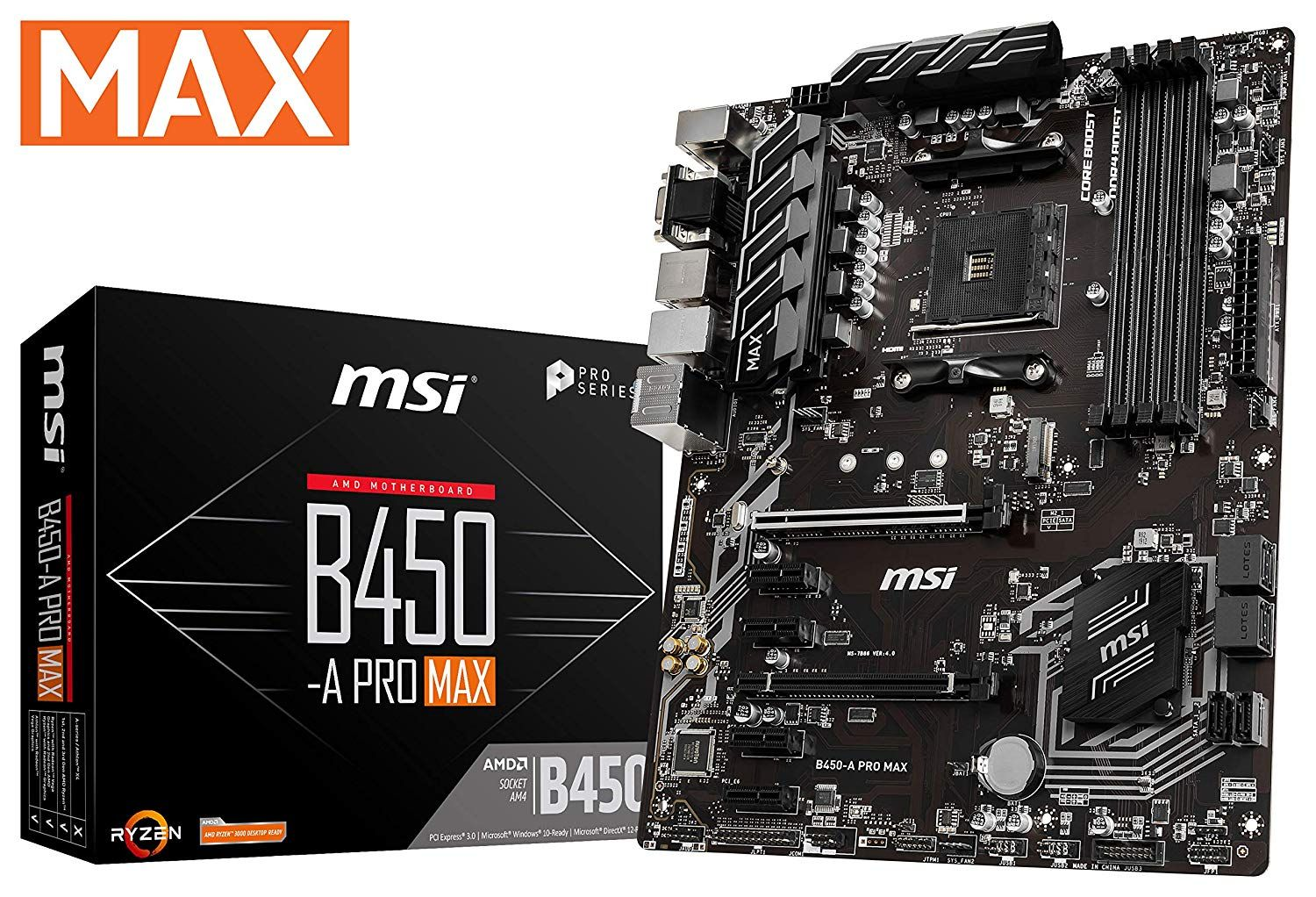 Msi Proseries Amd Ryzen 2nd And 3rd Gen Am4 M 2 Usb 3 Ddr4 D Sub Motherboard B450 A Pro Max