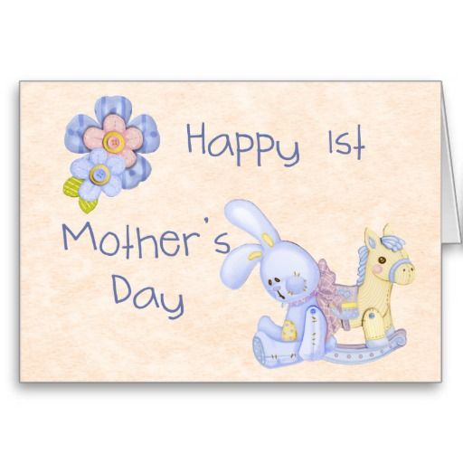 Happy 1st Mother S Day Card Blue Zazzle Ca First Mothers Day Fathers Day Cards Mothers Day Cards