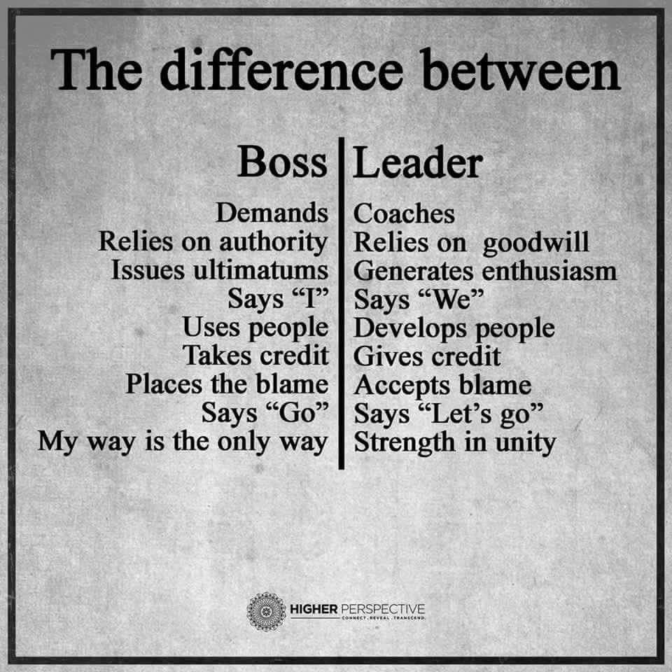 Boss Vs Leader Cpc Leader Quotes Leadership Quotes Work Quotes