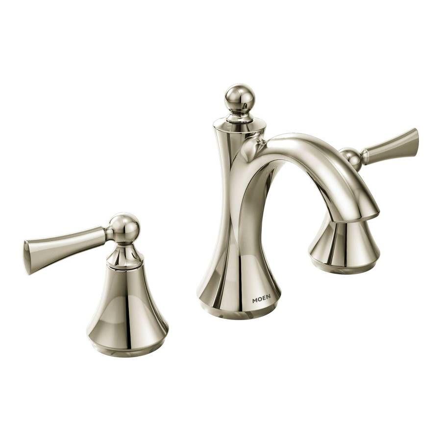 Moen Wynford Polished Nickel 2 Handle Widespread Watersense Bathroom Sink Faucet With Drain Lowes Com High Arc Bathroom Faucet Bathroom Faucets Widespread Bathroom Faucet [ 900 x 900 Pixel ]