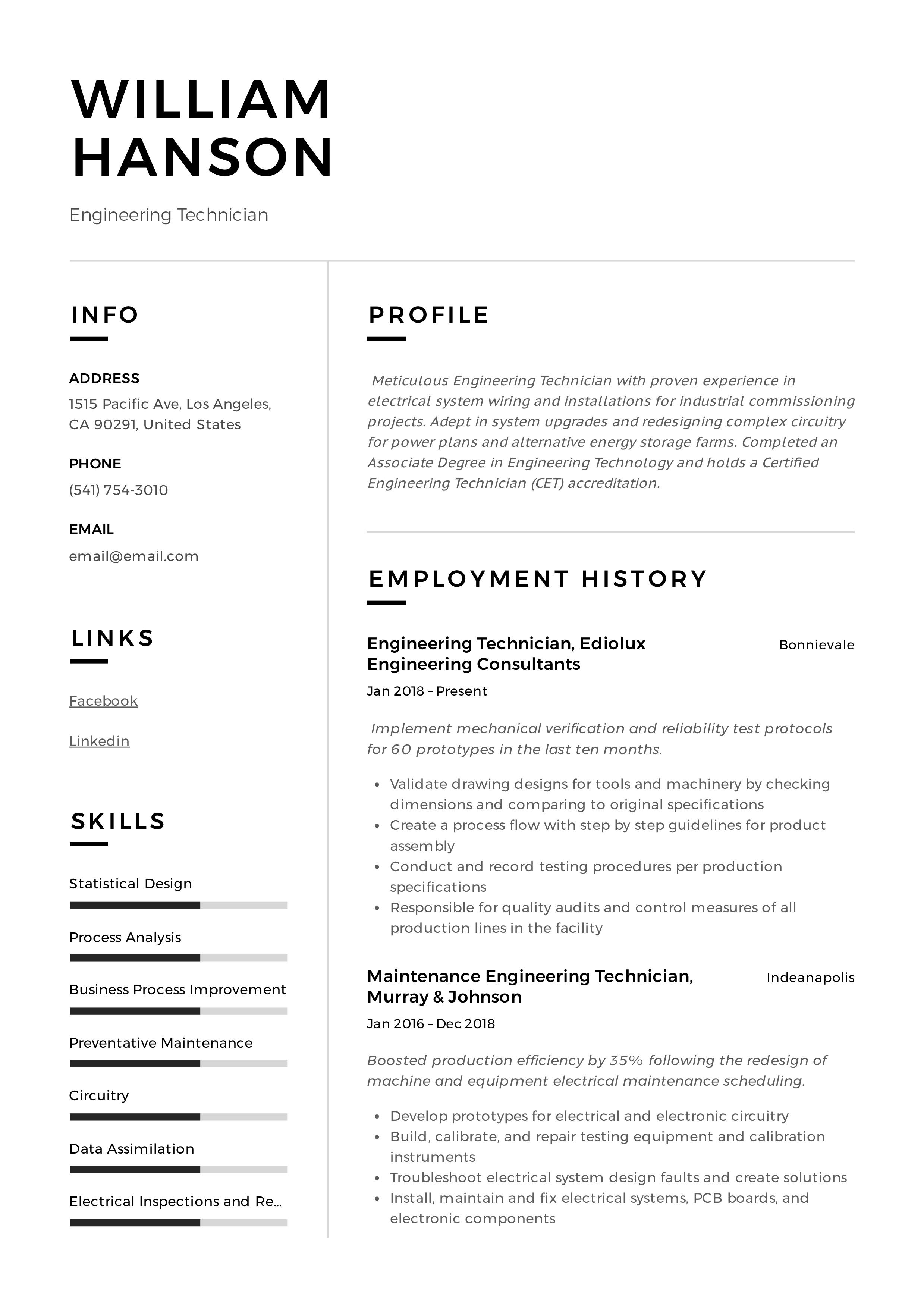 Engineering technician resume writing guide 12