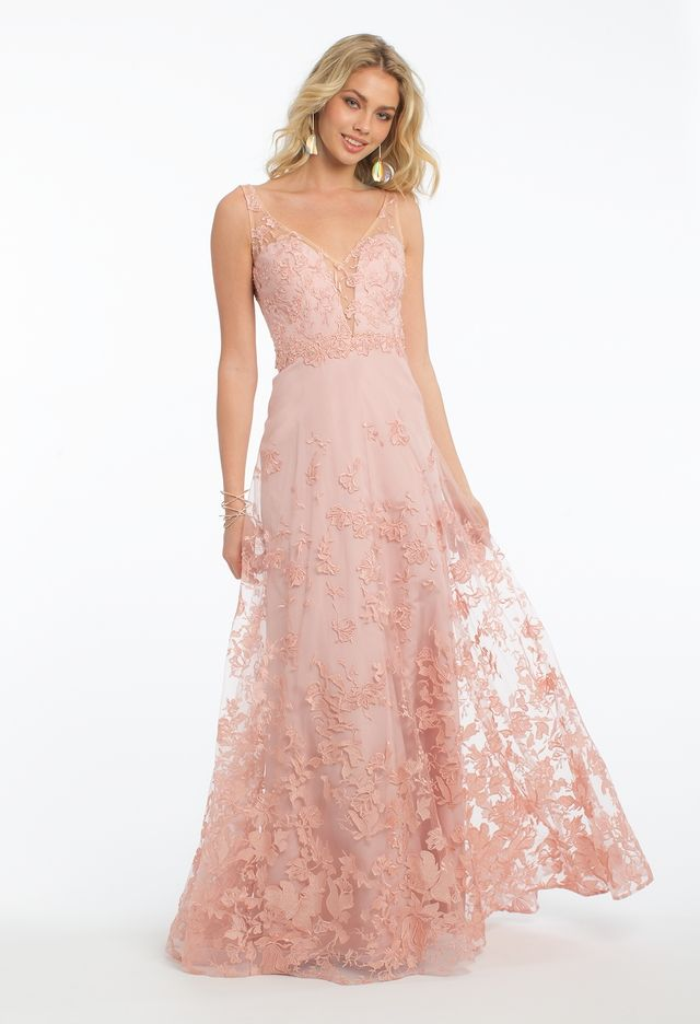 Embroidered Border Tulle Dress from Camille La Vie | prom 2018 ...