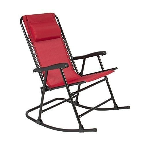 Folding Rocking Chair Patio Camping Weather Resistant Fabric Lightweight  Relax