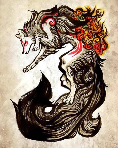 Amazing Beautiful Wolf Tattoo Design Beautiful Creative Wolf For Women Amaterasu Okami Wolf Tattoo Design