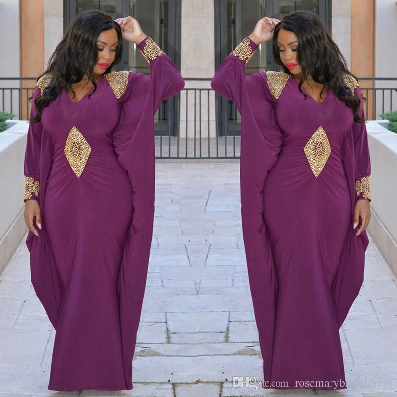 Purple Long sleeve Evening Dresses Kaftan Abaya Middle East Saudi ...