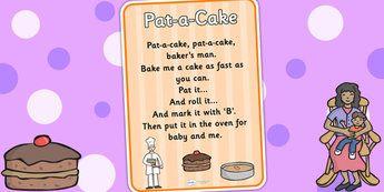 Pat A Cake Nursery Rhyme Poster Rhymes Display Songs Poems