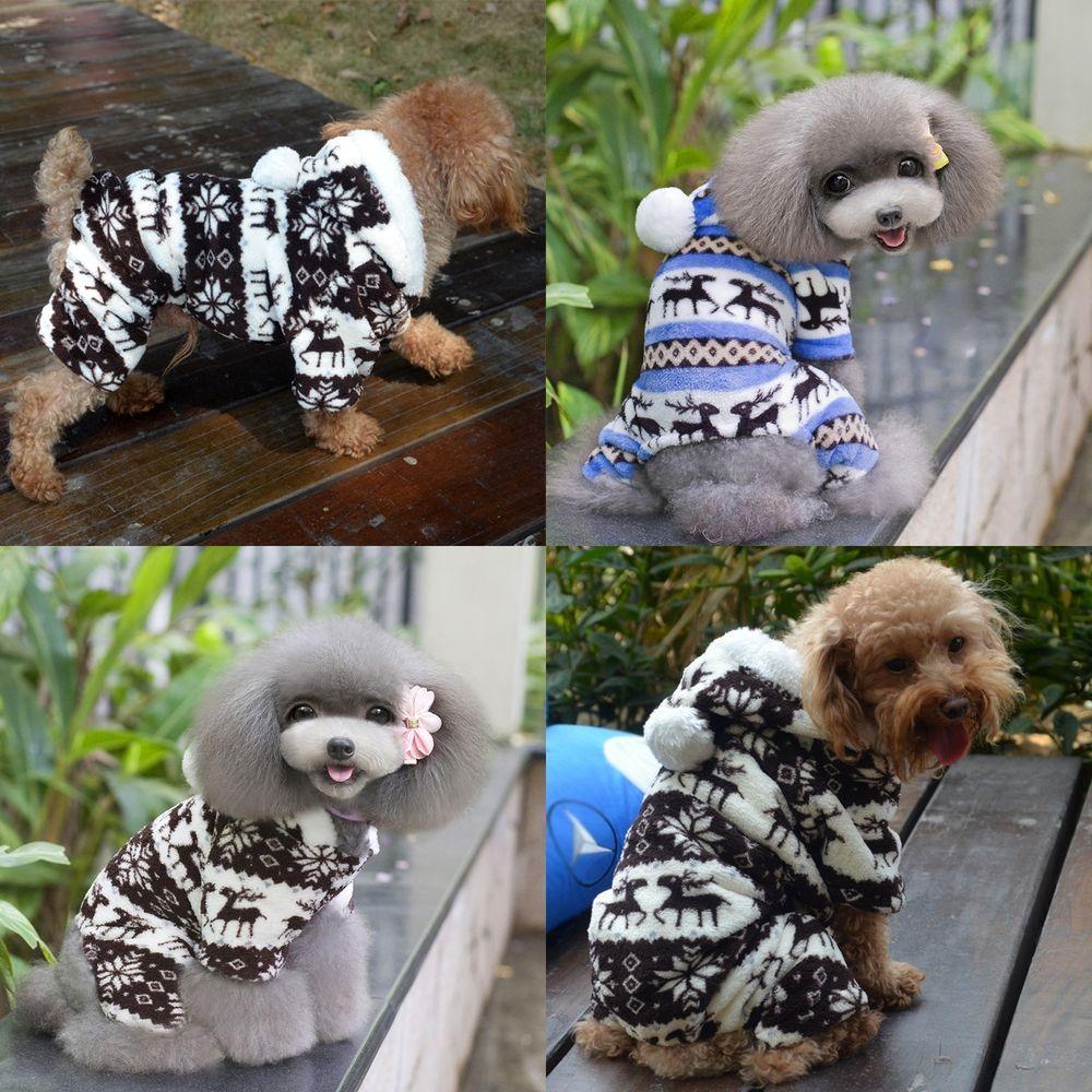 New Soft Warm Dog Pet Puppy Snowflake Deer Hoodie Jumpsuit Winter Coat Pants #Unbranded