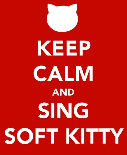Soft kitty, warm kitty, little ball of fur...Big Bang Theory
