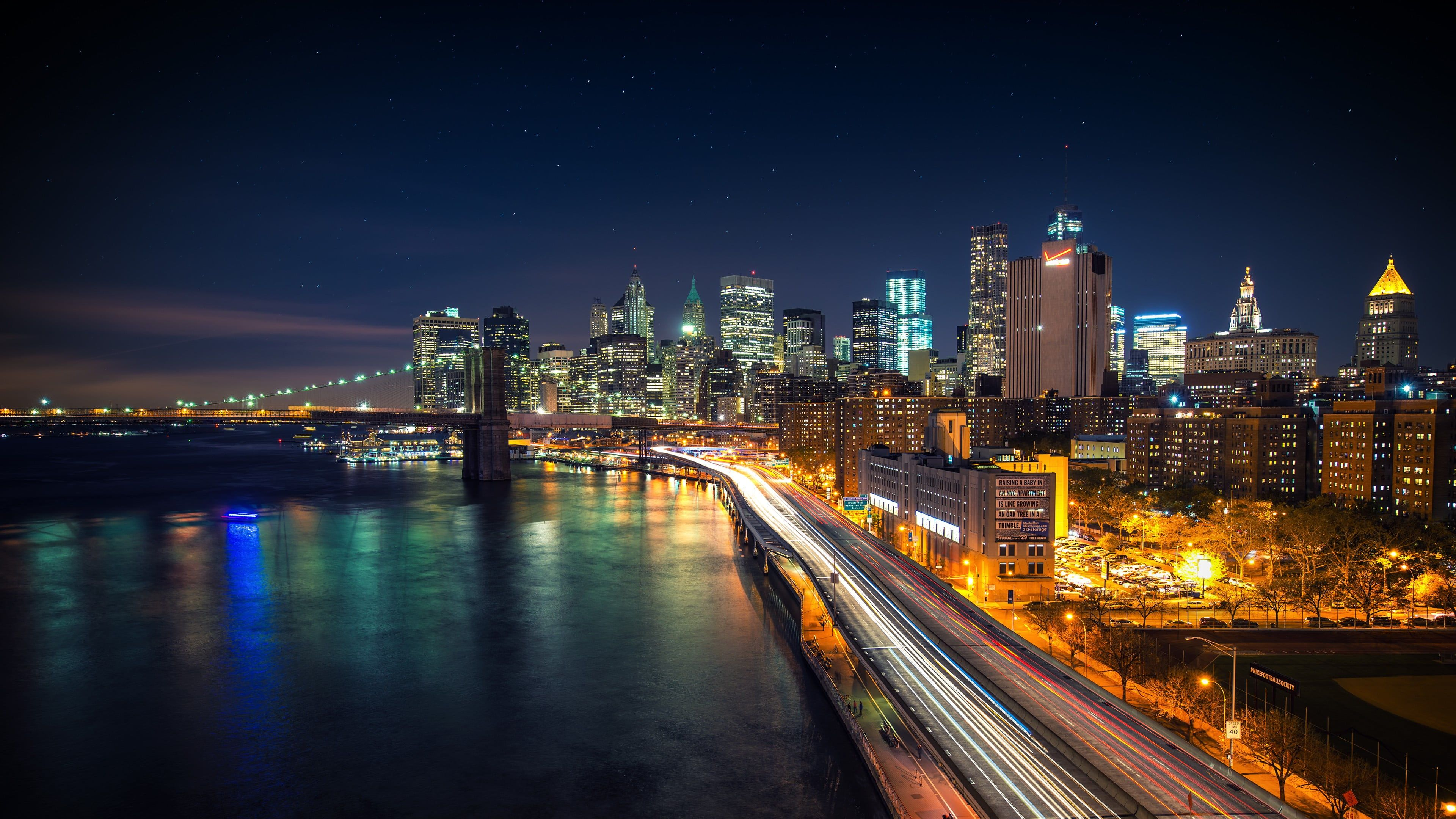 City Building Structure City During Night Cityscape New York City Long Exposure Usa Brooklyn Bridge City Wallpaper Mkbhd Wallpapers Background Hd Wallpaper