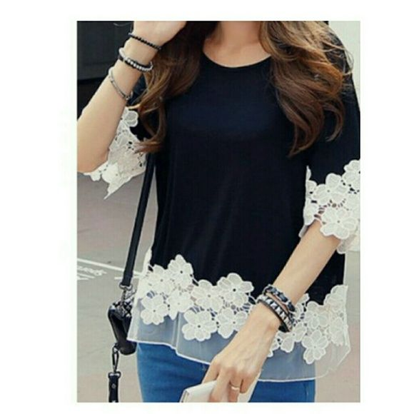 Black lace top New Tops