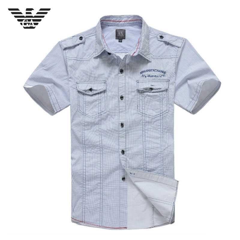 45b409723e Camisas Armani Hombre Manga Corta Blanco Color Puro,armani jean,armani  attitude,Madrid