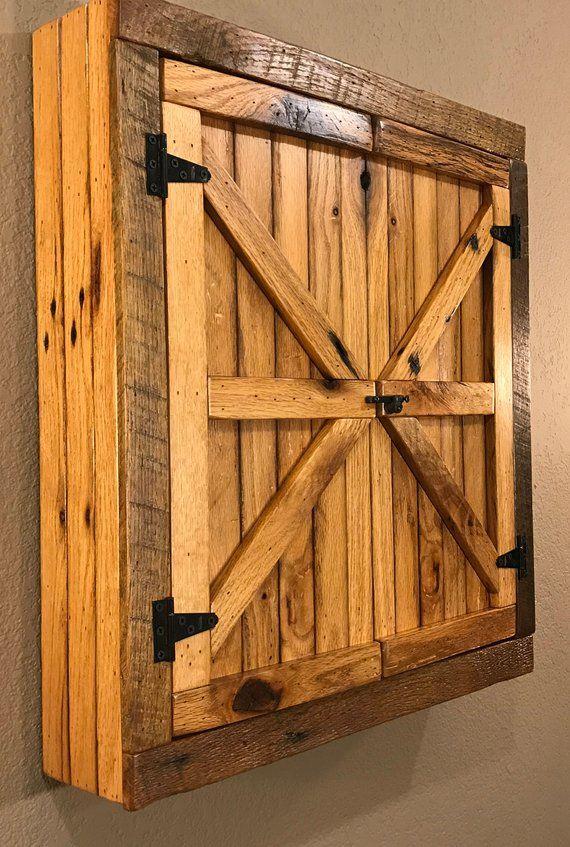 Natural Rustic Dartboard Cabinet Reclaimed Barn Wood