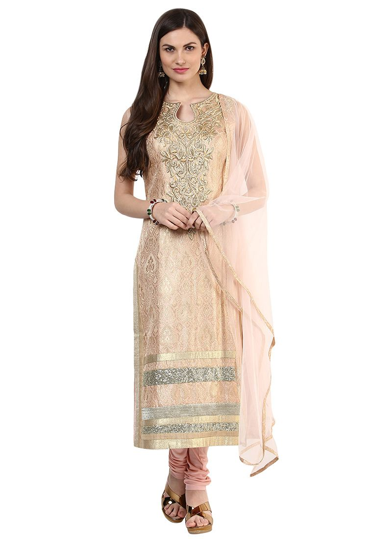 Realtree wedding dresses  Pink N Beige Brocade Straight Suit  Indian clothes I like