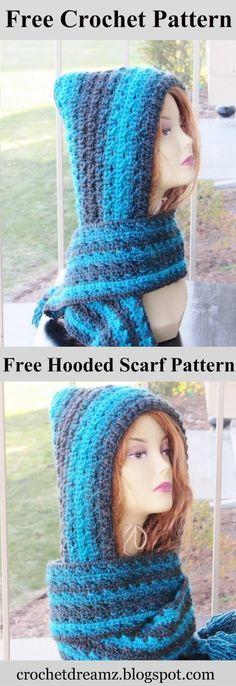 Heidi Hooded Scarf, Free Crochet Pattern | Capuchas, Tejido y Gorro ...