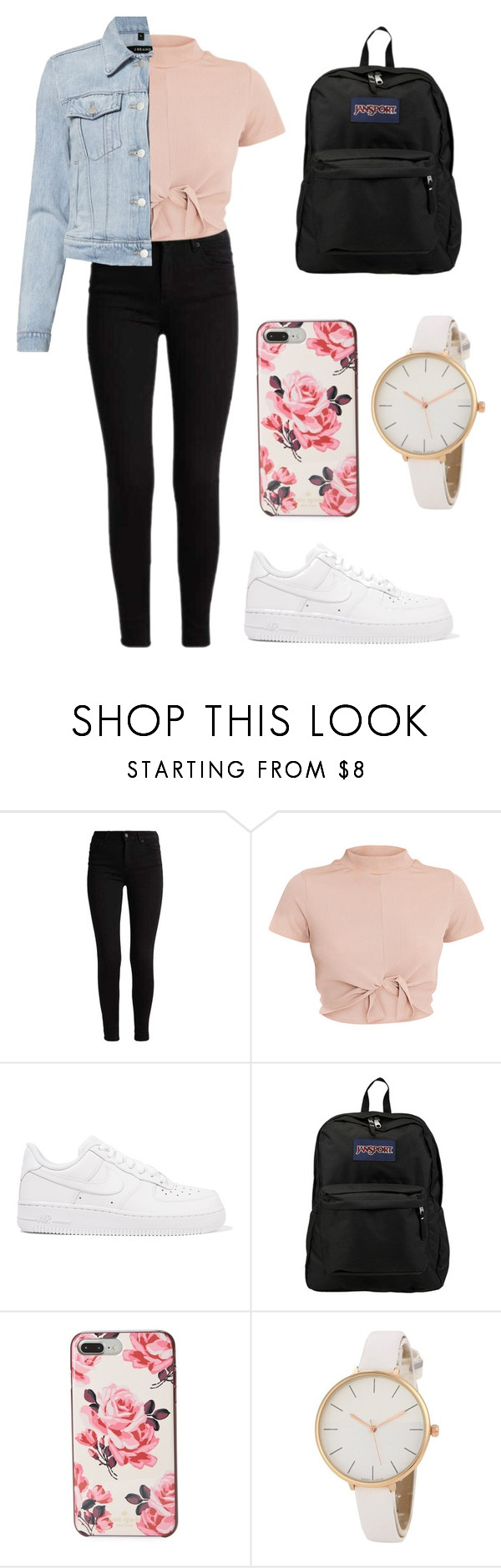 """""""First day of School"""" by bethany-franco on Polyvore featuring NIKE, JanSport, Kate Spade, J Brand, school, Pink, fashionable and dresscode"""