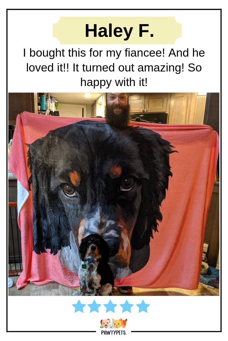 From Haley F I Bought This For My Fiancee And He Loved It It Turned Out Amazing So Happy With It Printypets Fleece Custom Pet Art Pet Fashion Pets