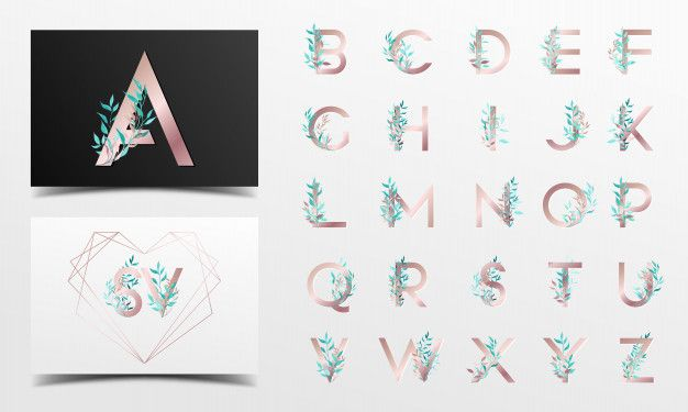 Beautiful alphabet collection with flora...   Free Vector #Freepik #freevector #logo #flower #wedding #watercolor
