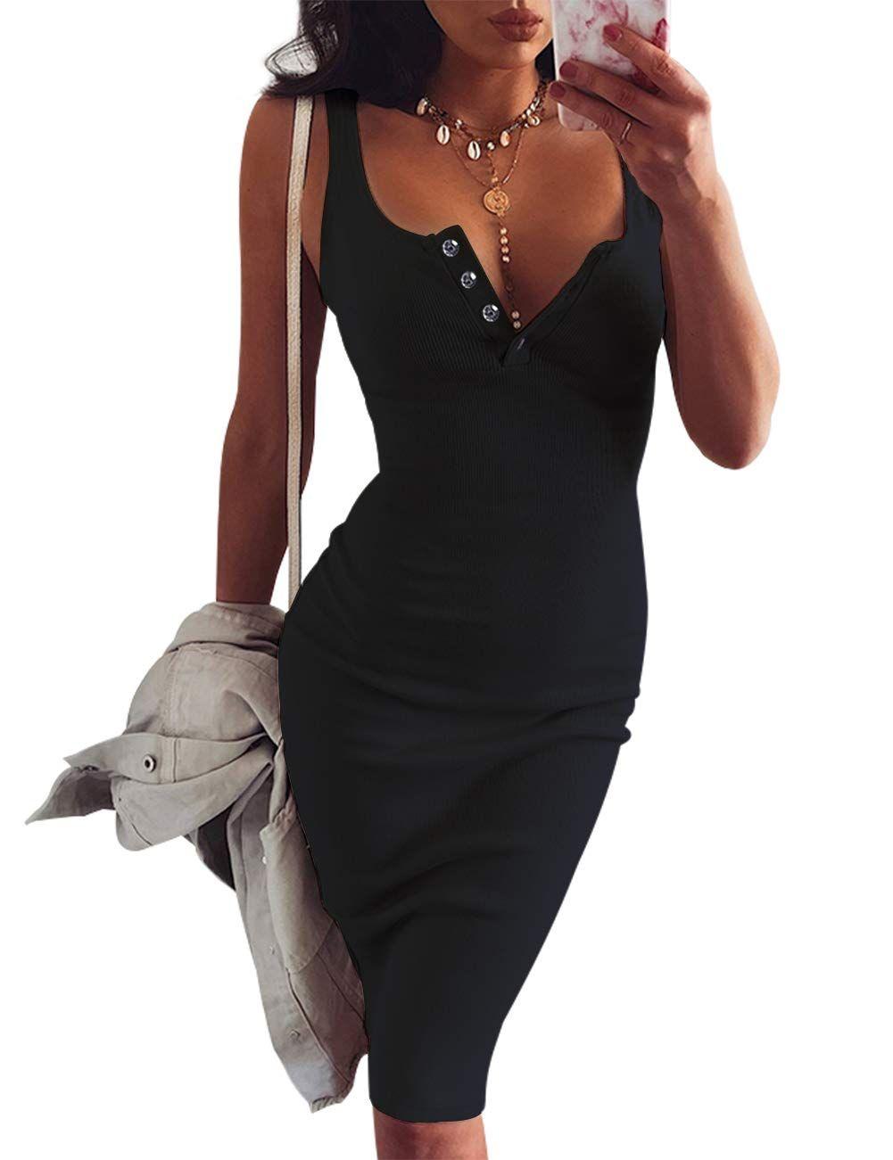 Faimilory Knitted Stretch Bodycon Buttonblack Midi Tank Dress Bodycon Casual Summer Bodycon Dress [ 1301 x 1001 Pixel ]