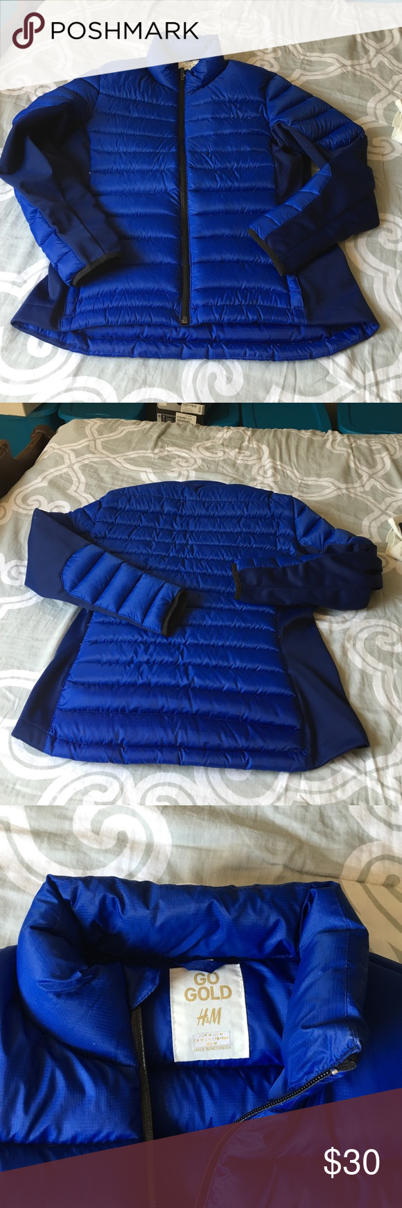 NWOT Gorgeous Blue Fitted Puffer Coat This is a gorgeous coat that has never been worn. Slim fit with give from side insert neoprene material on both sides and elbows/arms. Zip up front with 2 front zip close pockets. Sits at natural waist. Go Gold H& M Jackets & Coats Puffers