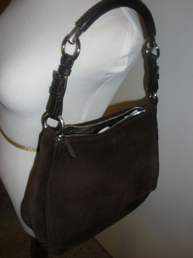 ddd212092f04 Prada Brown Suede Satchel Handbag with silver hardware Size medium